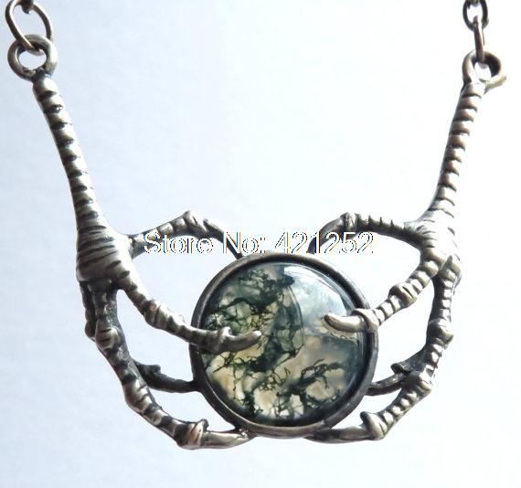 10pcs Game of Thrones Moss Agate and Raven Talons Pendant Game of Thrones necklace jewelry Raven claws game of thrones jewelry<br><br>Aliexpress