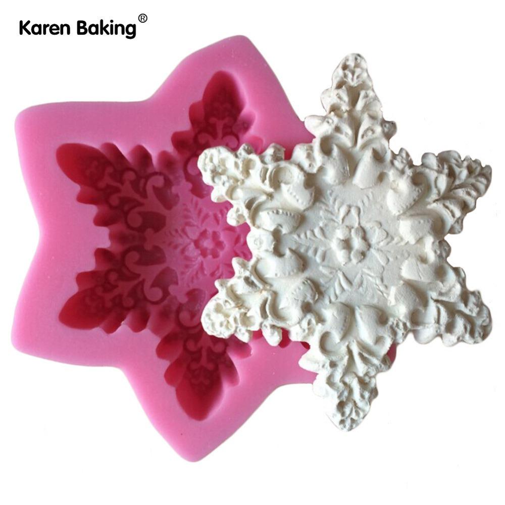 Snow Flake Shape Chocolate Candy Jello 3D Silicone Mould Cartoon Figre/Cake Tools Soap Mold Sugar Craft Cake Decoration C315(China (Mainland))