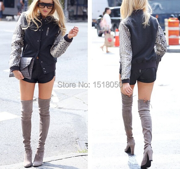 Over The Knee Suede High Heel Boots - Cr Boot
