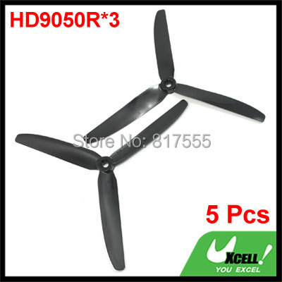 """Hole Diameter 7mm RC Plane Electric Model Aircraft Props Propellers 3-Blade HD9050R*3 Discount 50 Rotating 9"""" Length 5 Pcs/lot(China (Mainland))"""