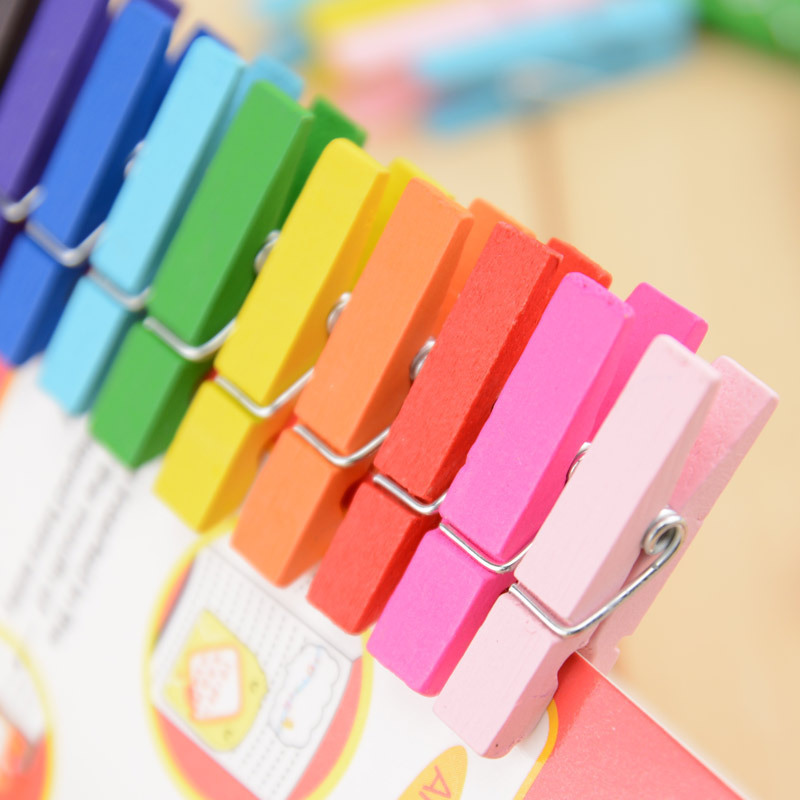80pcs NEW Kawaii Japanese colored Clip Wooden smile Clip Photo Paper Craft DIY Clips with Hemp Rope Wood Clip(China (Mainland))