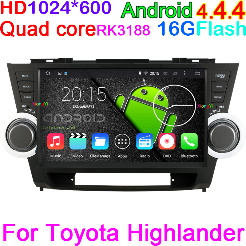 "Quad Core 16G Nand Flash HD 1024*600 10.2"" Android 4.4 Car PC For Toyota Highlander 2008-2012 With DVD GPS Radio DVR RK3188(China (Mainland))"