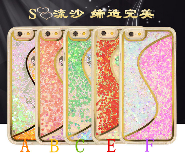 Hot ! S Type Glitter Stars Dynamic Liquid Quicksand Case Cover For iPhone 4 4s Transparent Clear Bling Phone Cover Case Free DHL