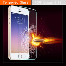 For iphone 4/4S Premium Tempered Glass Screen Protector for Apple iphone 4 4S Explosion Proof Mobile Phone Protective Film Guard(China (Mainland))