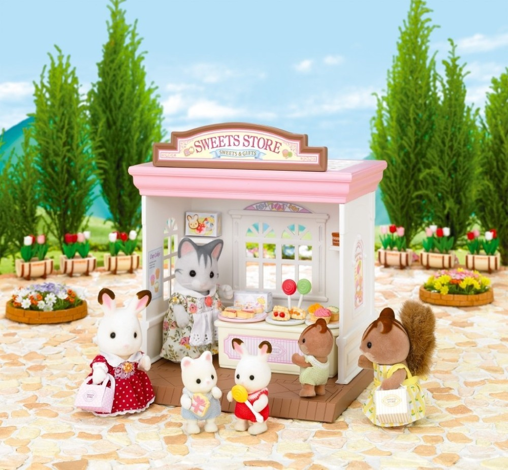 New Arrival Genuine Sylvanian Families Sweets Store Dessert Candy Shop Dollhouse Furniture Accessories Kids Pretend Toy for girl(China (Mainland))