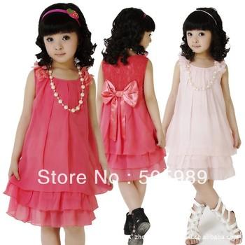 free shipping new girls dress (2 colors 5 sizes) one piece children's clothing princess girls chiffon dress