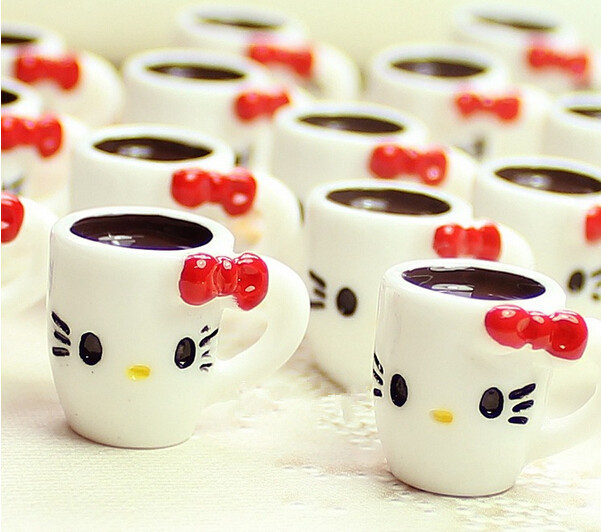 50pcs/lot 20mm super cute Cartoon cat bowknot coffee cup resin crafts kawaii cabochons for phone deco diy accessories(China (Mainland))