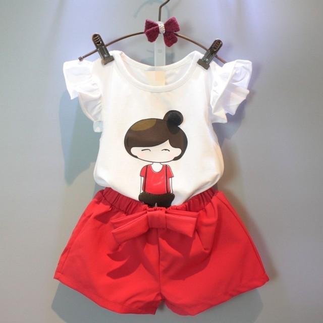 2016 летний стиль новорожденных девочек комплект одежды мультфильм футболка + брюки ...