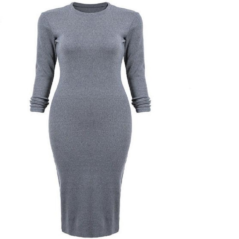 Women Spring Spring Winter Dresses gray Round Neck Ruched Wrap Front Long Sleeve Skinny Split Pencil vestidos Y30(China (Mainland))
