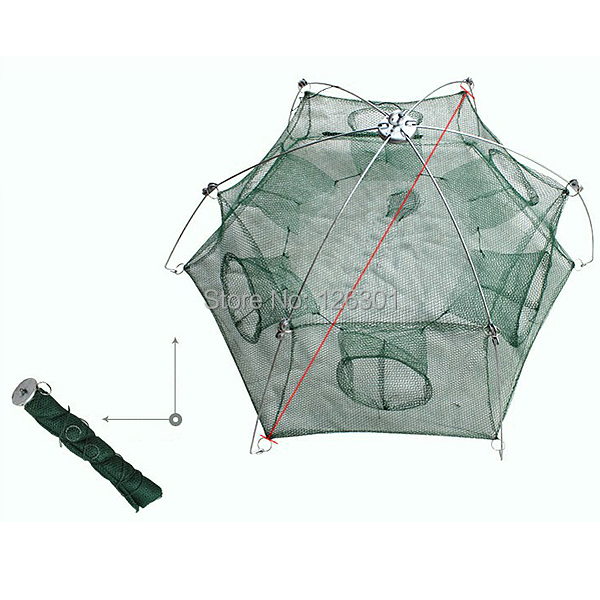 New minnow folded fishing trap baits cast mesh floding for Fish trap net