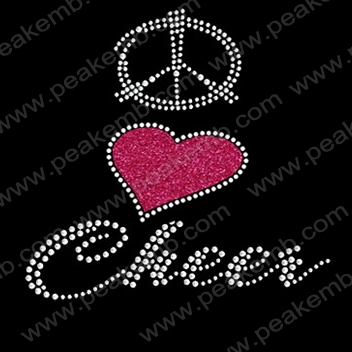 Free Shipping 30pcs/Lot Beautiful Peace Love Cheer Glitter Iron Ons Hotfix Rhinestone Transfer Wholesale for Apparel