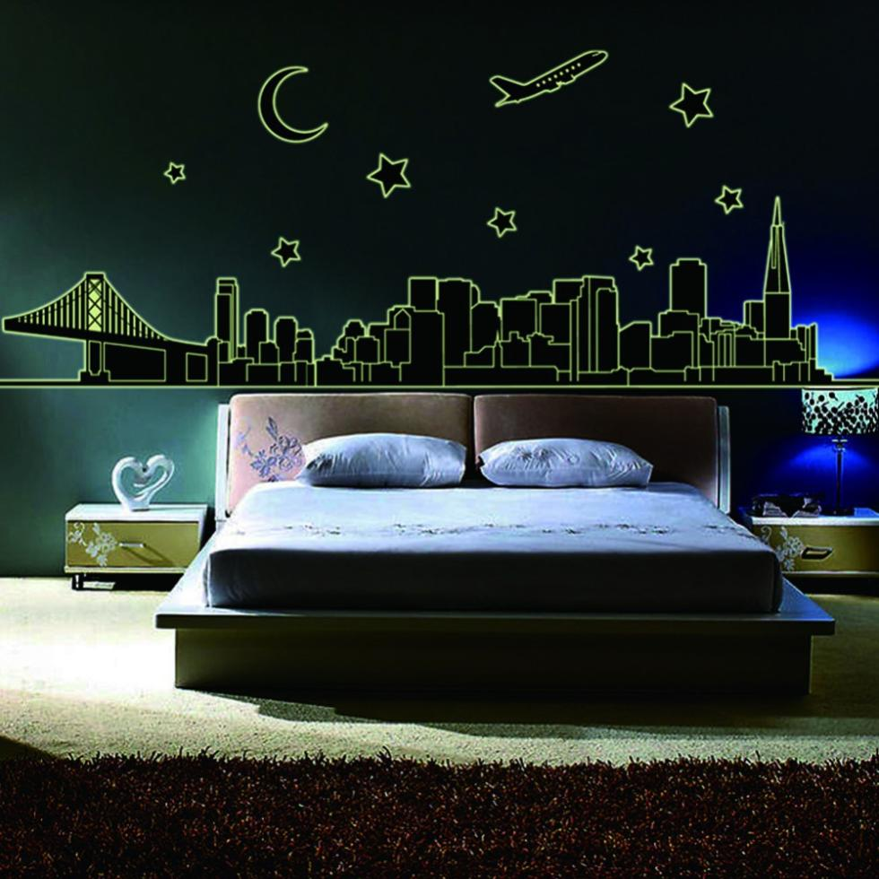 England style mondern city night plane stars moon for Luminous bedroom