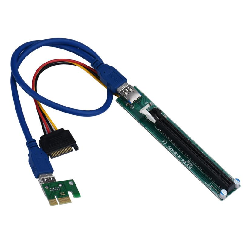 PCI-E Express 1X To 16X Extender Riser Adapter Card With Molex 60CM USB Cable SATA 15 Pin-4Pin Power Cable High Quality #201(China (Mainland))