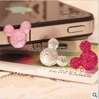 2014 New Korean Lovely Mickey Cell Phone Accessories Jewelry Anti Dust Plug 50pcs/lot 5/5S 4/4S 3.5MM Common Used QZH020