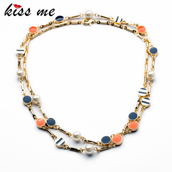 New Design Classic Fashion jewelry Shiny Round Enamel Pendant Long Sweater chain Necklaces Pendant 2014