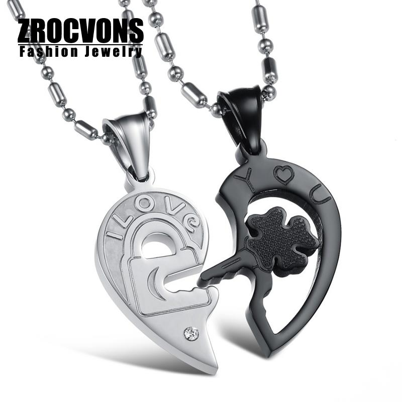 2015 New Fashion Women Men Jewelry Key and Lock Heart Couple Pendants Stainless Steel Cubic Zirconia Lovers Necklace For Women(China (Mainland))