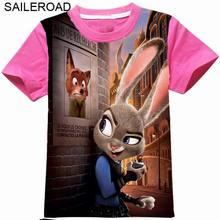 2 To 11Year 3D Printed Zootopia Girls Tops Tees T Shirts New Summer Baby Kids Girls Short Sleeve T Shirt For Clothes SAILEROAD(China (Mainland))