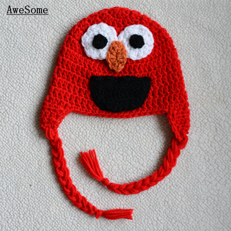 Free Post Elmo Inspired Red Blue Monster Hat with Ear Flaps and Braids Baby Girl Boy Halloween Costume Toddler Photography Prop(China (Mainland))