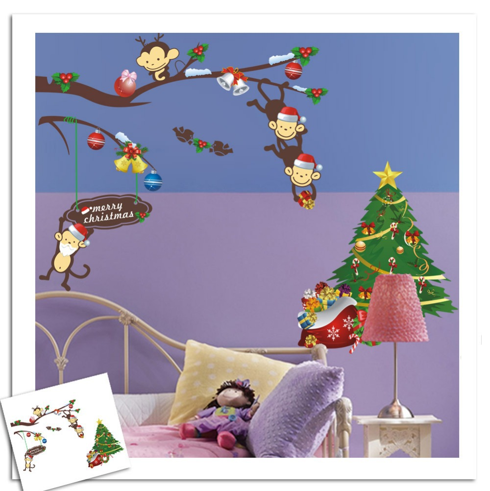 Christmas Wall Sticker Cartoon Animal Monkey Wall Decals Removable Home Decor For Kids Room(China (Mainland))
