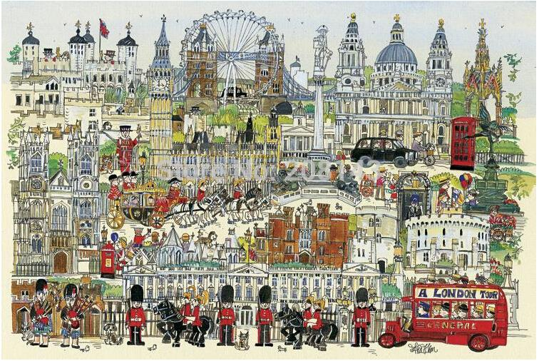 Free Shipping ! London Town Jigsaw Paper Puzzle 1000 Pieces With Drawing Guideline and Glue(China (Mainland))