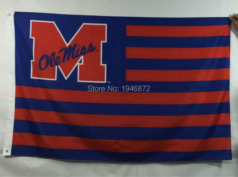 Ole Miss Rebels Stripes Outdoor NCAA Flag 3X5FT(China (Mainland))