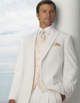 New beige custom made mens suits with pants tuxedo ivory for Mens ivory dress shirt wedding