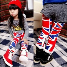 2014 autumn new fashion England flag pattern 100% cotton child children girl female  Render pants girls legging