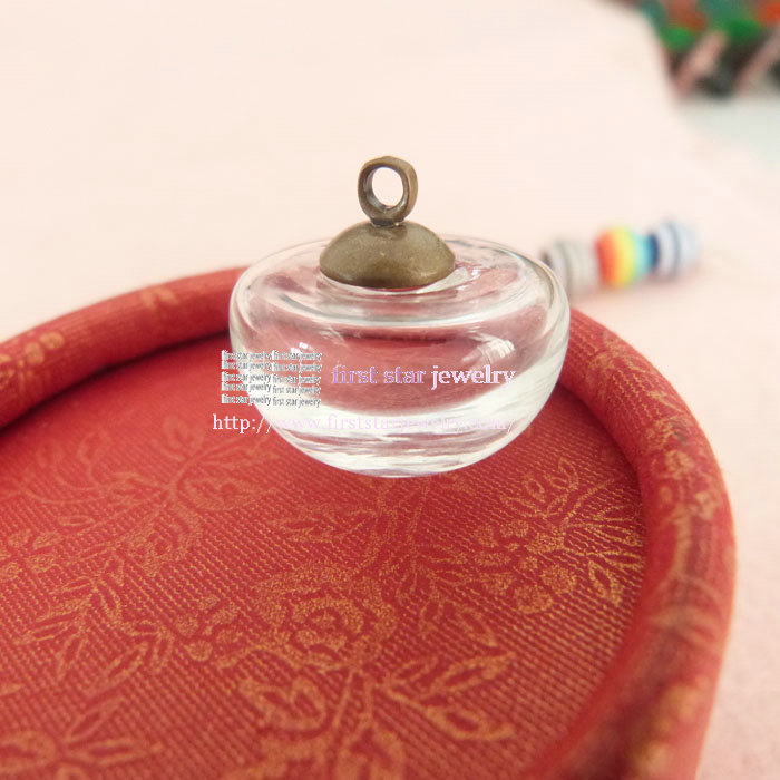 DIY Gift Material 20*12mm Round Clear glass bubble bottle + bronze top connector /you can make neckalce