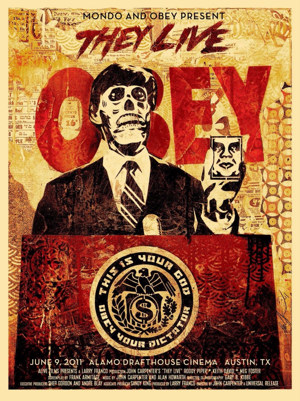 Obey Shepard Fairey They Live Mondo Amazing Silk Poster Art Bedroom Decoration 0687(China (Mainland))