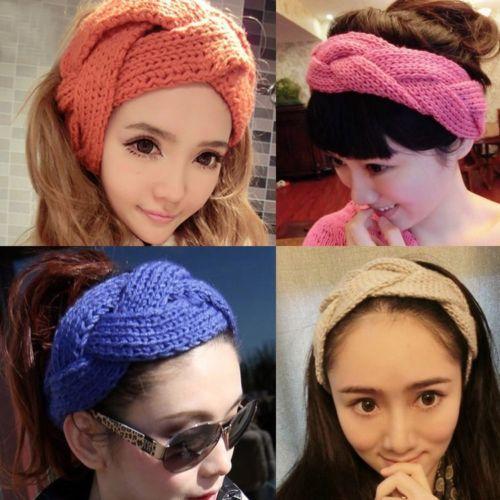 HOT Women Girl Twisted Ribbon Warmer Knit Wool Headband Makeup Wash Hair Band(China (Mainland))