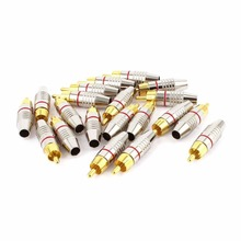 20Pcs Gold plated rca male plug Solderless audio video speaker adapter gold connector Red + Black(China (Mainland))