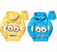 1pcs/lot 2015 despicable me 2 minion boys clothes, girls nova shirts, child Spring hoodies Tops & Tee(China (Mainland))