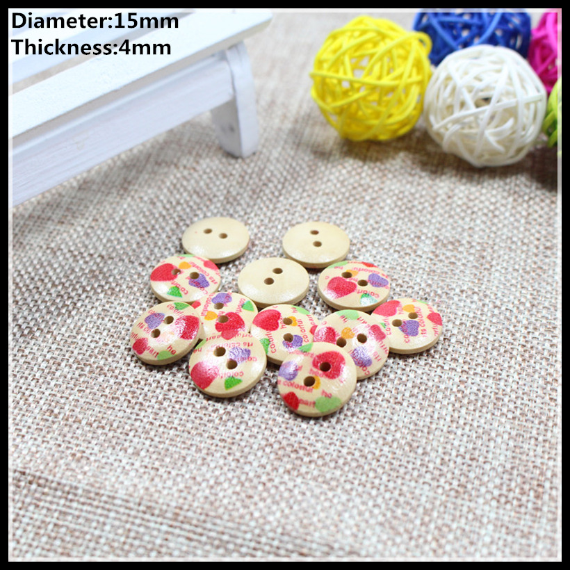 Free shipping 100pcs 15mm Color of love wood buttons, button shirt DIY pillow bedding bag sewing/0107(China (Mainland))