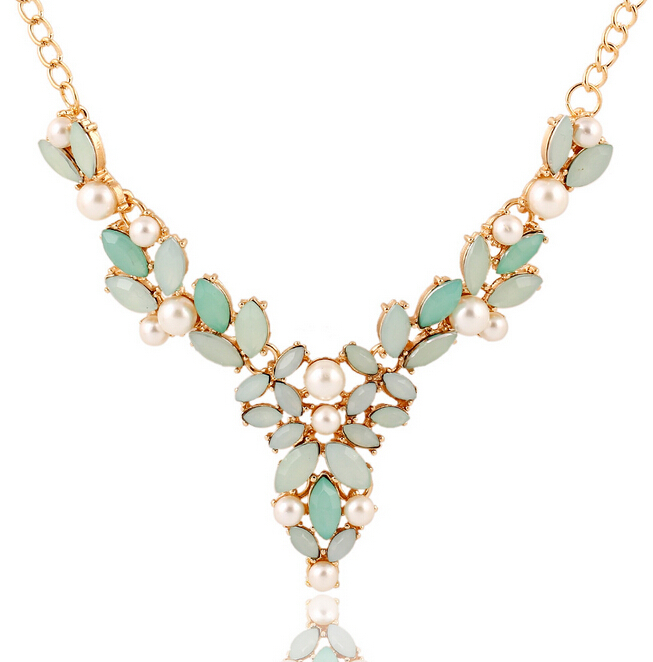Hot Resin And Faux Pearl Flower Necklace Green Collares Statement Necklace Choker Necklaces & Pendants Women Colar Feminino(China (Mainland))