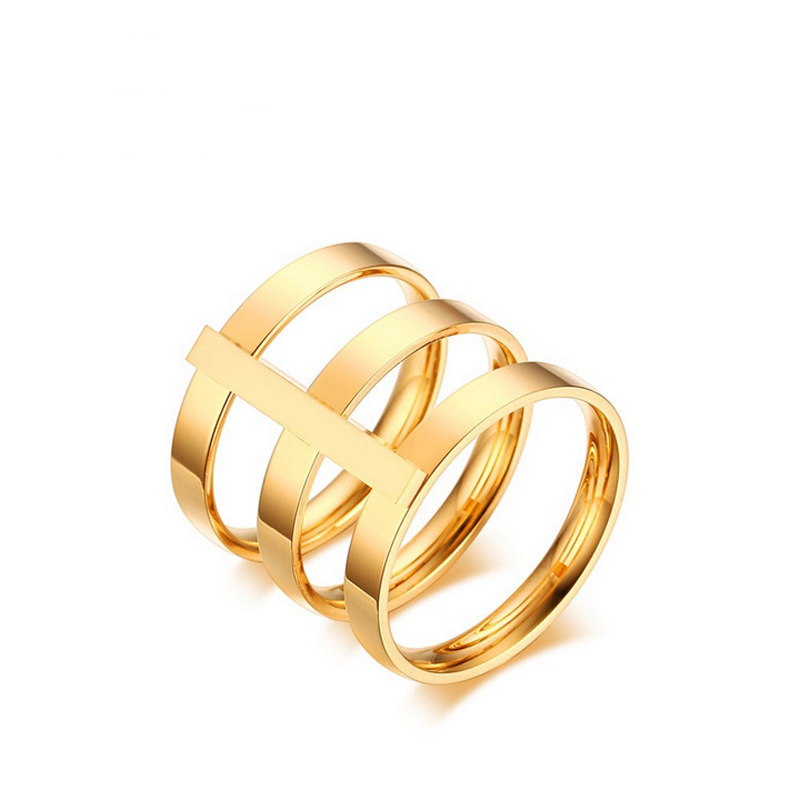 2016 Latest Design High quality Rose Gold plated women Unique Rings stainless steel simple style anillos mujer women jewelry(China (Mainland))