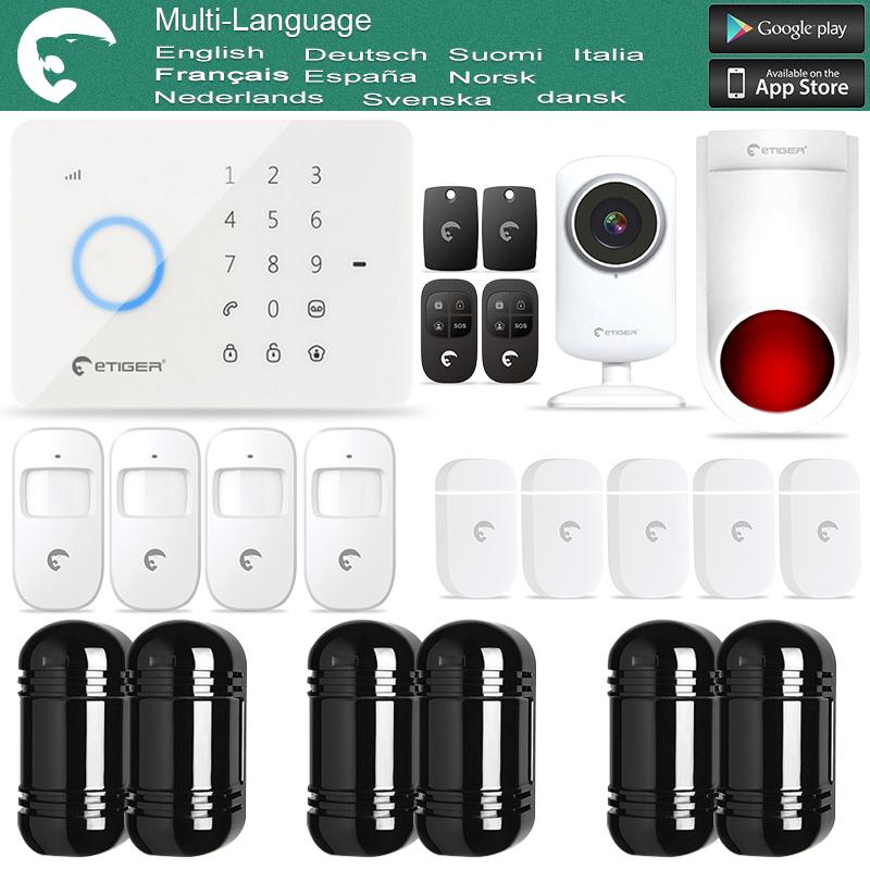 eTIGER S3B GSM Intruder Alarm System for Home/Office WiFi Network Camera + IR Beam Detector 100M(China (Mainland))