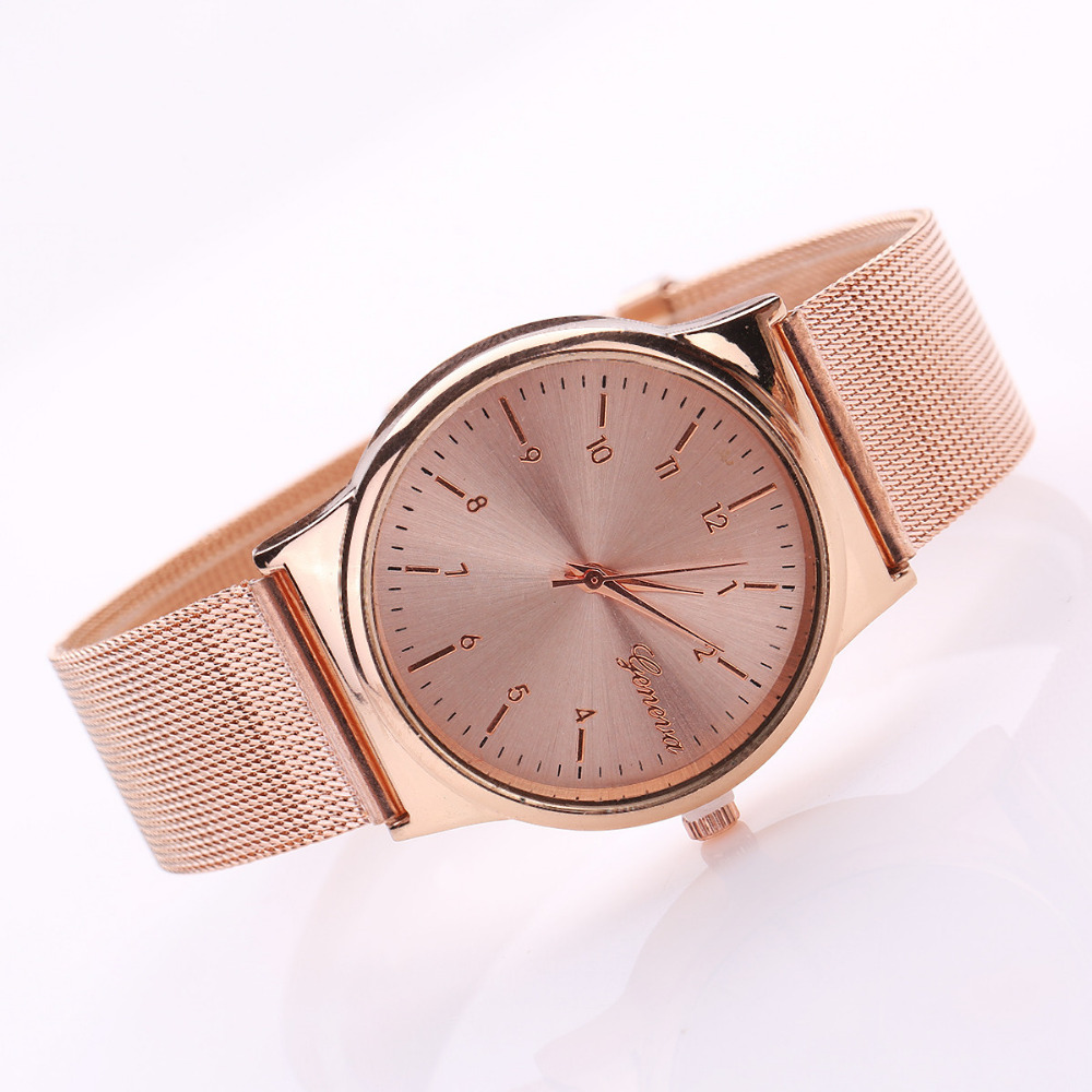 Geneva Watch Womens Rose Gold Watches Reloj Mujer Clock Simple Bracelet watch Mesh Stainless Steel Relogio(China (Mainland))