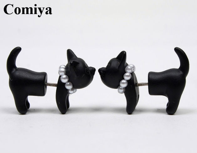 Fashion Black animal double cute cat pearl stud earrings For Women lovely girls small brincos ouro jewelry cc earring aliexpress(China (Mainland))