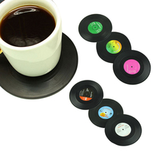 Top Grand 6/Pcs/set Table Cup Mat Creative Decor Coffee Drink Placemat Tableware Spinning Retro Vinyl CD Record Drinks Coasters(China (Mainland))