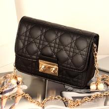 Genuine purchasing 2016 new handbag shoulder messenger bag Lingge Diana package pearl chain bag mini-packet of high-quality