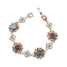 Charming Vintage Jewelry Sunflower Bracelets For Women Fashion Accessories Unique Design Colorful Stones Gold Plated Good Gifts(China (Mainland))