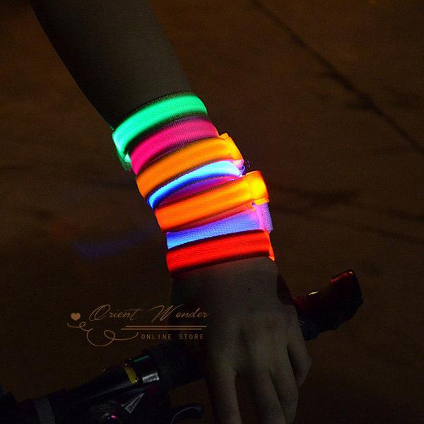 Hot Sale Glowing Bracelet LED lights Flash Bracelet Wrist Ring Nocturnal Warnings Ring Running Gear Glowing Armband 10pcs/lot(China (Mainland))