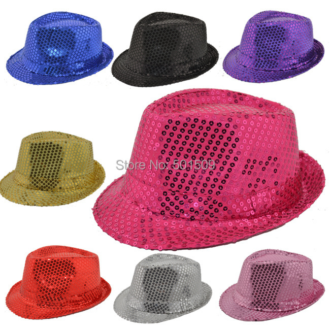 Free ship adults full sequins black/silver/red/blue/pink/purple/golden jazz/dance hats stage performance(China (Mainland))