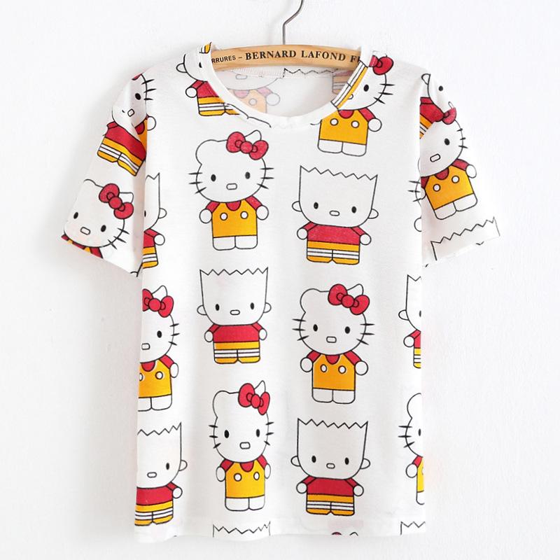 summer 3d print cartoon Hello Kitty America apparel geek harajuku kawaii punk rock sexy tumblrt T shirt women camisetas mujer(China (Mainland))