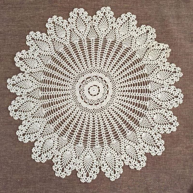 """Table Topper Flower Tablecloth 32"""" Crochet Lace Round Cloth Cotton Doilies Cover For Wedding Home Decor Beige/White(China (Mainland))"""