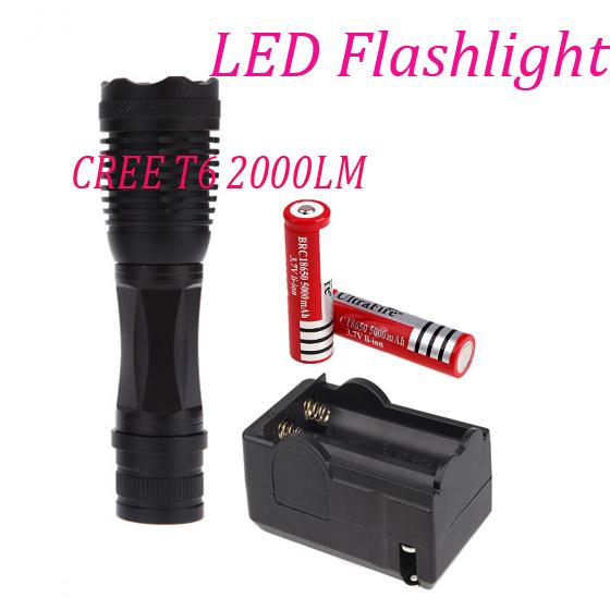 Hot LED 2000 lumens  Tactical Torch Linterna Ultrafire T6 Camping Flashlight+2*18650  Li-ion Battery+1 * Charger Free shiping<br><br>Aliexpress