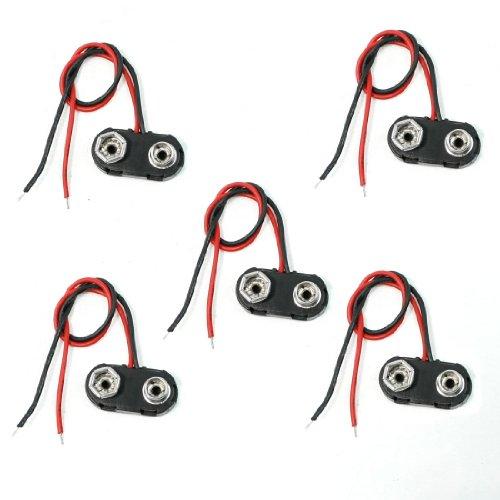 New 5 Pcs Black Plastic I Type 9V 9 Volt Battery Clip Connectors Buckle Cable
