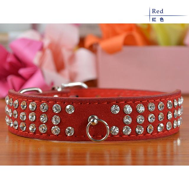 High Grade Three Rows Rhinestone PU Leather Pet Product Dog Puppy Necklace Collar