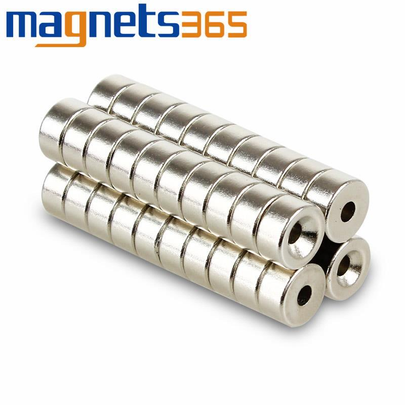 """Гаджет  20pcs x Round 10mm x 5mm 2/5"""" x 1/5"""" Hole 3mm Magnets Dsic Rare Earth Neodymium N38 None Строительство и Недвижимость"""