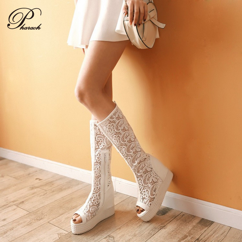 Women Open Toe Lace Summer Platforms Boots 2015 Sexy Gladiator Shoes
